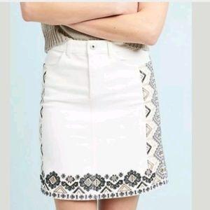 NEW Anthropologie Pilcro Denim Embroidered Skirt